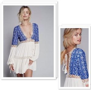 Free People Dusk To Dawn Embroidered Mini Dress